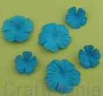 papierowe kwiatki turkusowe - zestaw mały