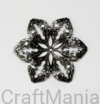 ażurowy metalowy kwiat  stare srebro