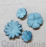papierowe kwiatki jeansowe- zestaw mały